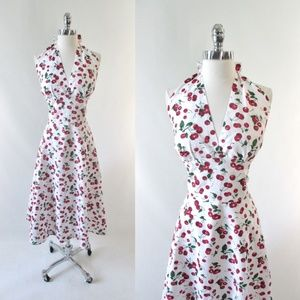 Retro 50's Cherry Fit Flare Halter Dress XL